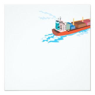 Container Ship Cargo Boat Retro Custom Invite