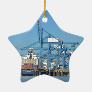 Container Ship Dock Ceramic Ornament
