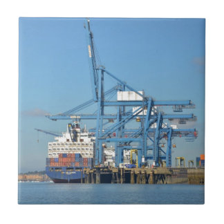 Container Ship Dock Ceramic Tile