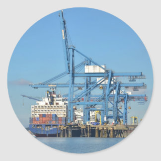 Container Ship Dock Classic Round Sticker
