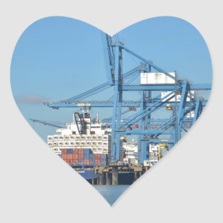 Container Ship Dock Heart Sticker