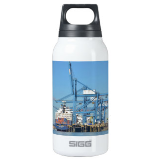 Container Ship Dock Insulated Water Bottle