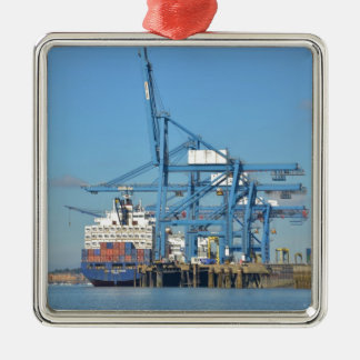 Container Ship Dock Metal Ornament