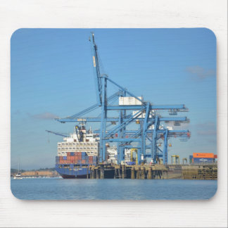 Container Ship Dock Mouse Pad