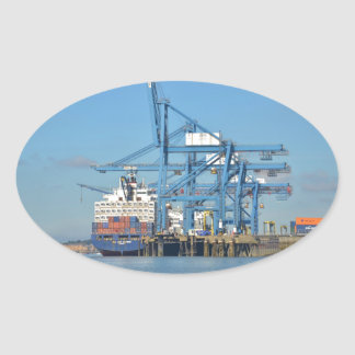 Container Ship Dock Oval Sticker