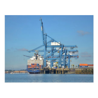 Container Ship Dock Postcard
