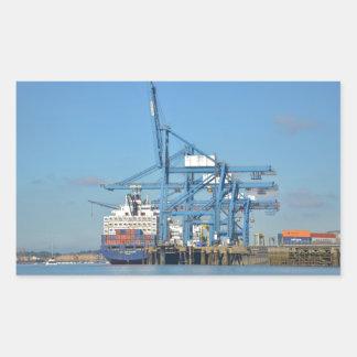 Container Ship Dock Rectangular Sticker
