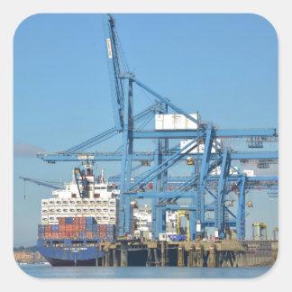 Container Ship Dock Square Sticker