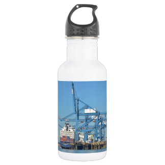 Container Ship Dock Stainless Steel Water Bottle