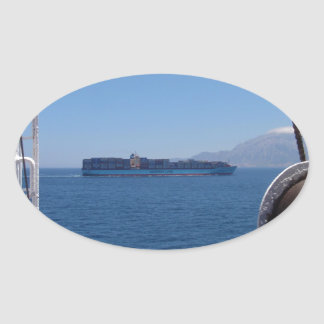 Container Ship Off Morocco Oval Sticker