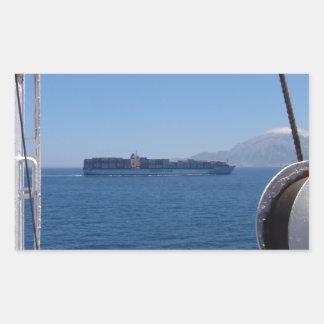 Container Ship Off Morocco Rectangular Sticker