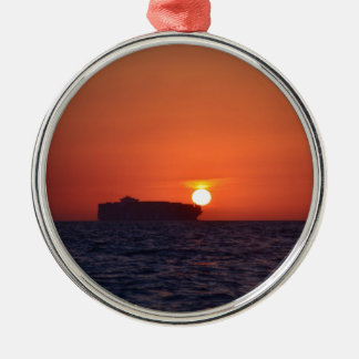 Container Ship Sunset Silver-Colored Round Decoration