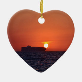 Container Ship Sunset Ceramic Heart Decoration