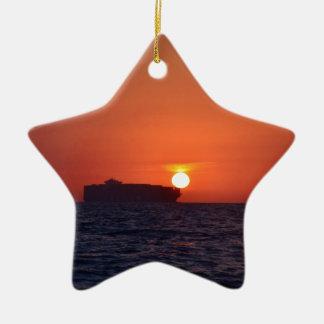 Container Ship Sunset Ceramic Star Decoration
