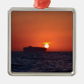 Container Ship Sunset Silver-Colored Square Decoration