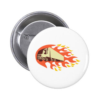 Container Truck and Trailer Flames Retro Pinback Buttons