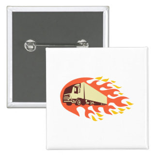 Container Truck and Trailer Flames Retro Button