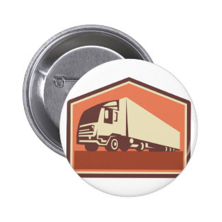 Container Truck and Trailer Flames Retro Buttons