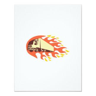 Container Truck and Trailer Flames Retro 4.25x5.5 Paper Invitation Card