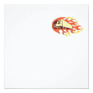 Container Truck and Trailer Flames Retro 5.25x5.25 Square Paper Invitation Card