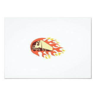 Container Truck and Trailer Flames Retro 3.5x5 Paper Invitation Card