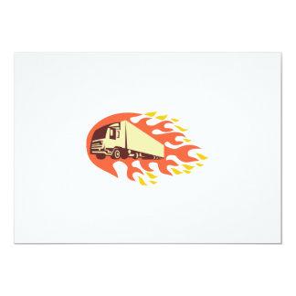 Container Truck and Trailer Flames Retro 5x7 Paper Invitation Card