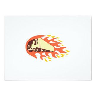 Container Truck and Trailer Flames Retro 6.5x8.75 Paper Invitation Card