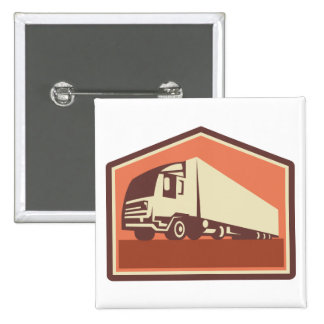 Container Truck and Trailer Flames Retro Pin