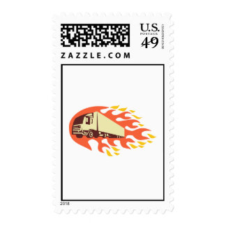 Container Truck and Trailer Flames Retro Postage Stamps