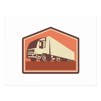 Container Truck and Trailer Flames Retro Post Card