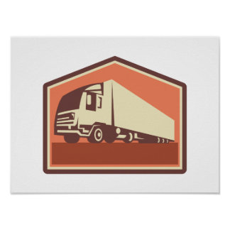 Container Truck and Trailer Flames Retro Print