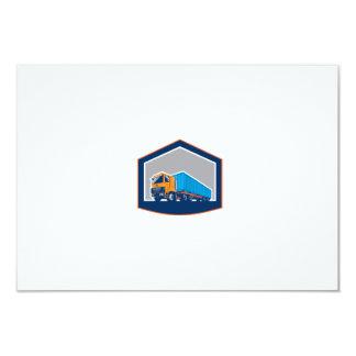 Container Truck and Trailer Shield Retro 3.5x5 Paper Invitation Card
