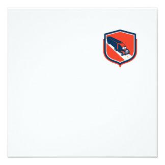 Container Truck and Trailer Shield Retro 5.25x5.25 Square Paper Invitation Card