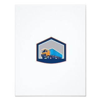 Container Truck and Trailer Shield Retro 4.25x5.5 Paper Invitation Card