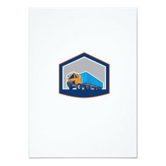 Container Truck and Trailer Shield Retro 4.5x6.25 Paper Invitation Card