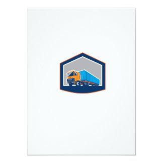 Container Truck and Trailer Shield Retro 5.5x7.5 Paper Invitation Card