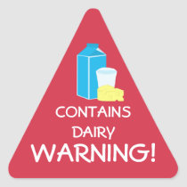 Contains Dairy Milk Cheese Food Allergy Warning Triangle Sticker