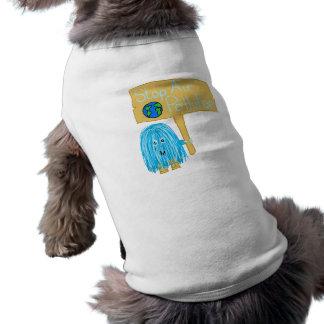 Contaminación atmosférica de la parada del trullo playera sin mangas para perro