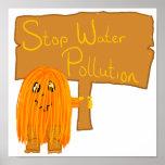 contaminación de agua anaranjada de la parada impresiones
