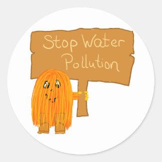 contaminación de agua anaranjada de la parada pegatina redonda