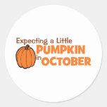 Contando con una pequeña calabaza en octubre pegatinas redondas