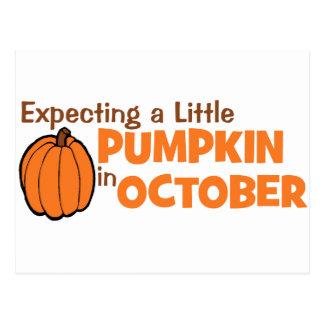 Contando con una pequeña calabaza en octubre postales