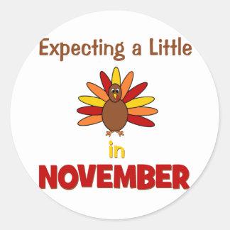 ¡Contando con una pequeña Turquía en noviembre! Etiquetas Redondas