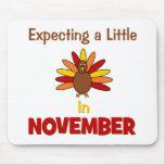 ¡Contando con una pequeña Turquía en noviembre! Alfombrillas De Ratones