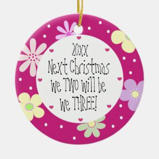Contar con nuestro 1r bebé y lo es Chica-Navidad Adorno Navideño Redondo De Cerámica