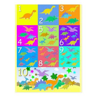 Contemos con los números 1 a 10 de los dinosaurios tarjetas postales