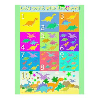 Contemos los números de los dinosaurios que aprend membrete a diseño