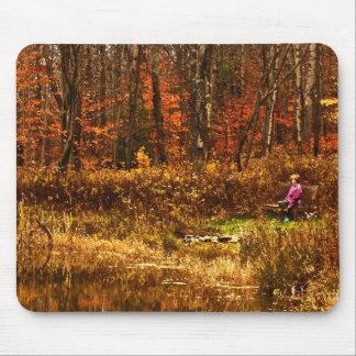 Contemplating Autumn Pond Mouse Pad