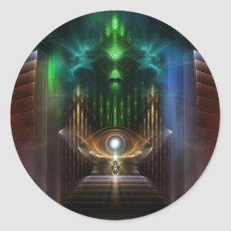 Contemplating Oz Fractal Art Classic Round Sticker