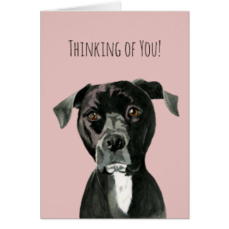 """""""Contemplating"""" Pit Bull Dog Painting Card"""
